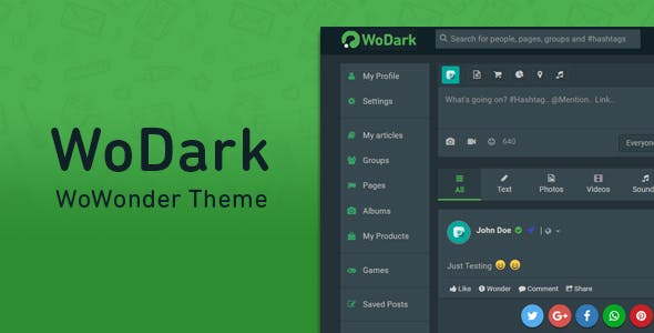 WoDark - Theme for WoWonder