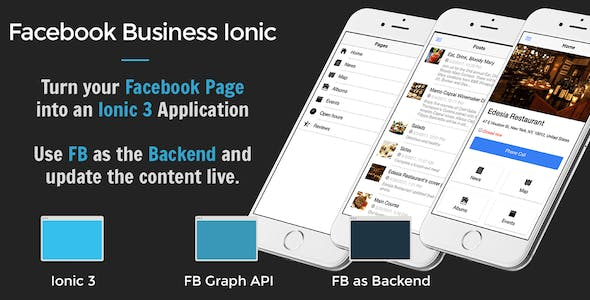 Facebook Business Ionic 3 - Turn your Facebook page into a mobile app