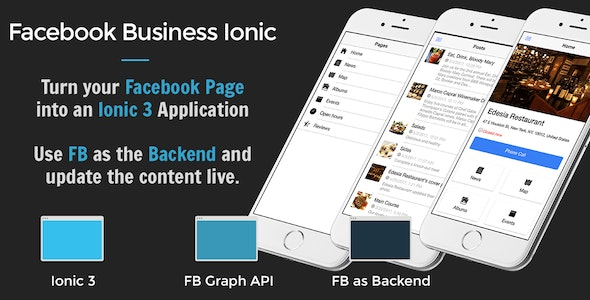 Facebook Business Ionic 3 - Turn your Facebook page into a mobile app - CodeCanyon Item for Sale