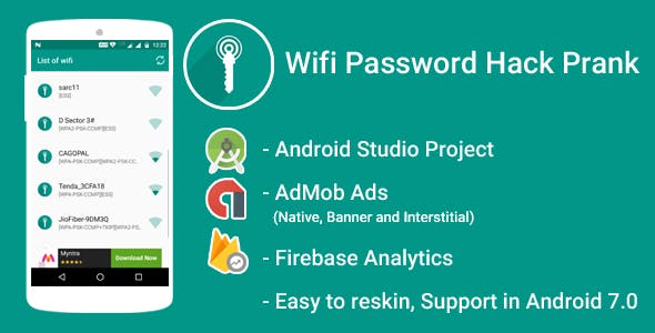 WiFi Password Hack Prank With Admob Ads + Google Analytics + Firebase Integration