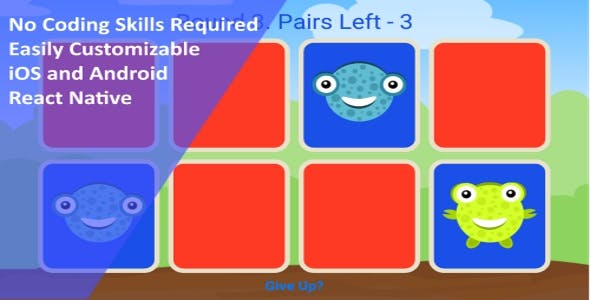 Basic Pairs Memory Game for Kids