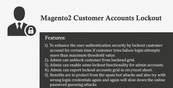Magento2 Customer Accounts Lockout - CodeCanyon Item for Sale