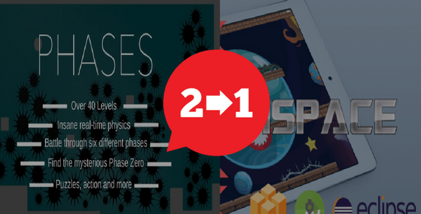 2 IN 1 Pack | Phases & ISpace Game | Android & IOS | Admob IAP | High Graphics