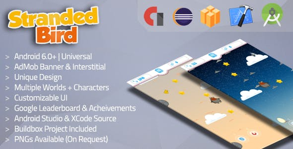 Stranded Bird v2 Admob + Multiple Worlds & Characters (Buildbox template + Xcode)