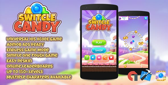 Switcle Candy + Admob IOS XCODE Easy Reskin Online Leaderbords