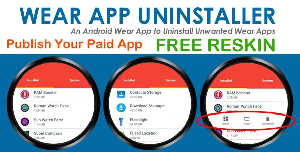 Wear Apps Uninstaller - Android Wear App - Ready Paid App