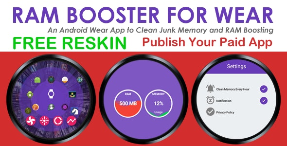 RAM Booster and Memory Cleaner - Android Wear - Paid App - CodeCanyon Item for Sale