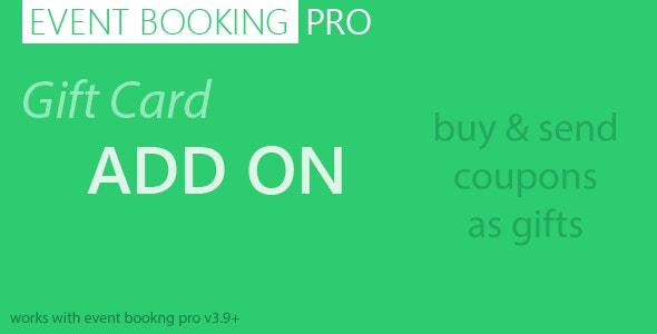 Event Booking Pro : Gift Card Addon - CodeCanyon Item for Sale