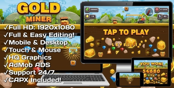 Gold Miner - HTML5 Game 20 Levels + Mobile Version! (Construct 3 | Construct 2 | Capx) - CodeCanyon Item for Sale