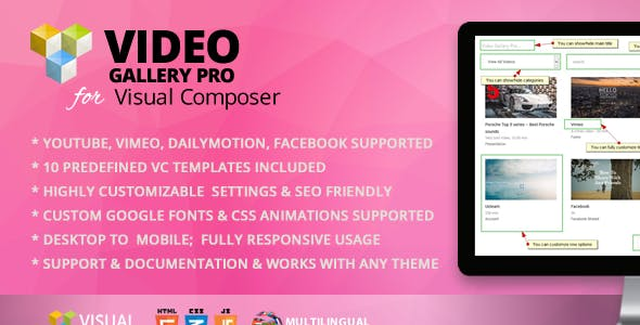 Video Gallery Pro Addon for WPBakery Page Builder (formerly Visual Composer)