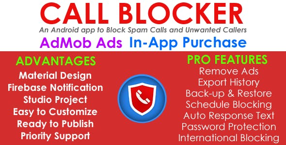 Call Blocker - AdMob - In App Purchases - Android App - Easy Reskin
