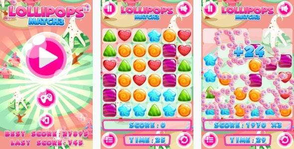 Lollipops Match3 - HTML5 Game + Mobile game! (Construct 3 | Construct 2 | Capx) - CodeCanyon Item for Sale