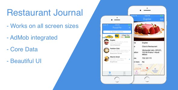 Restaurant Journal - iOS app with AdMob