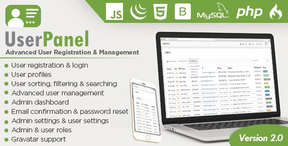 UserPanel - Advanced User Registration and User Management PHP Script