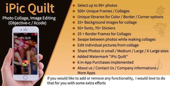 iPic Quilt / Photo Collage / Picture Editing for iOS (Obj-C) - CodeCanyon Item for Sale
