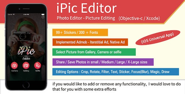 iPic Editor - Perfect Picture Editor / iOS (Obj-c) - CodeCanyon Item for Sale