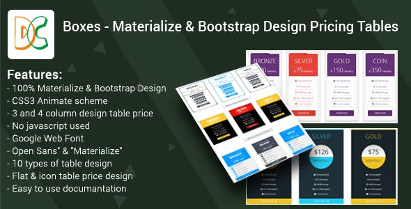 Boxes - Materialize & Bootstrap Design Pricing Tables