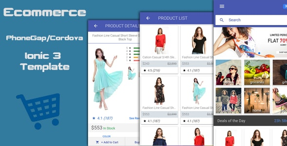 Ionic 3 Ecommerce PhoneGap / Cordova Hybrid App Template - CodeCanyon Item for Sale