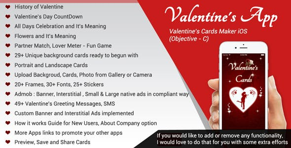 Valentine's App / Valentine's Cards Maker / Love Calculator - iOS (Objective-c / X-code)