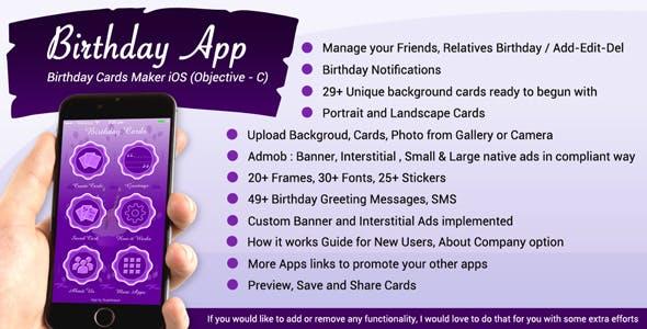 iOS Birthday Card Maker / Birthday App (Objective-c / Xcode) - Full App