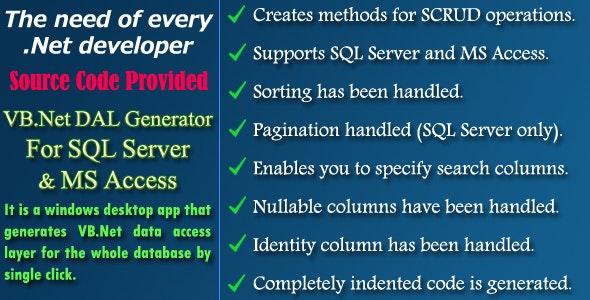 VB Net DAL Generator - Source Code by NajmulIqbal15   CodeCanyon