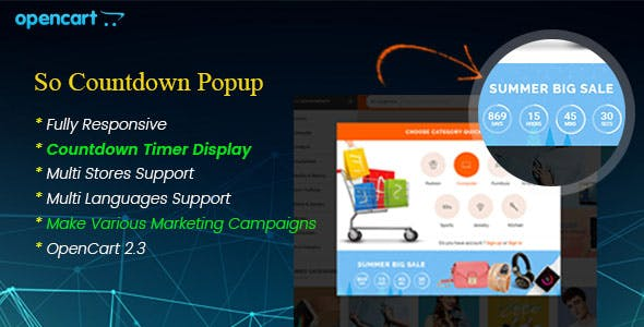 Countdown Popup - Responsive Marketing Popup Pro for OpenCart 3.0.x & OpenCart 2.x Module