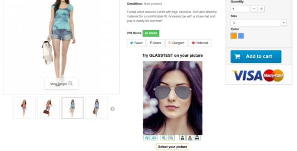 Html5 virtual try-on module for prestashop for glasses, accessory