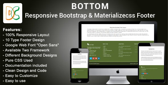 Bottom - Bootstrap 3 and Materializecss Footer