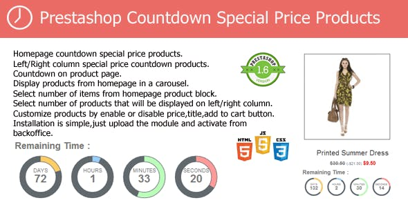 Prestashop Countdown Special Price Products Module