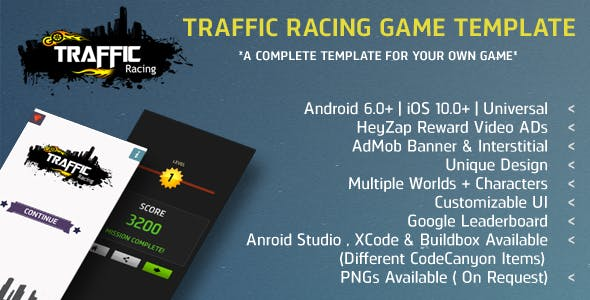 Traffic Racing IAP + AdMob Ads + HeyZap Reward Video Buildbox 2.2.8 Project