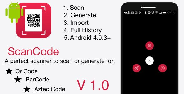 ScanCode | Android QR Code and Barcode features Application (Admob)