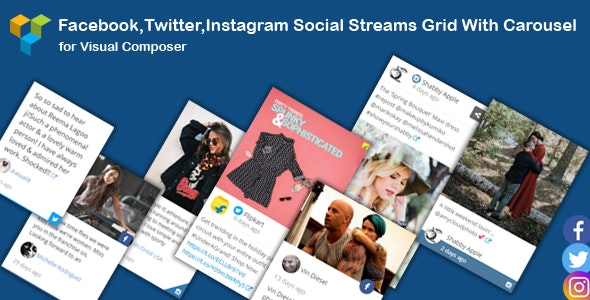 WPBakery Page Builder - Facebook,Twitter,Instagram Social Streams Grid With Carousel - CodeCanyon Item for Sale