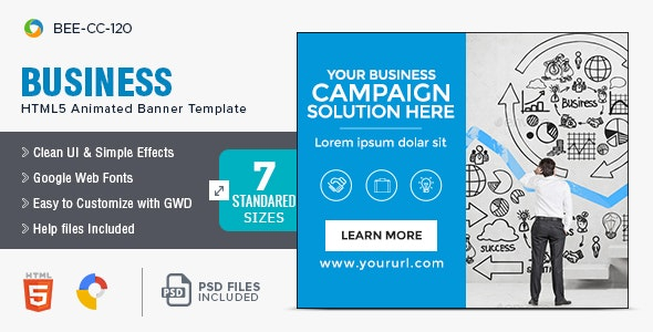 Business HTML5 Banners - 7 Sizes - BEE-CC-120 - CodeCanyon Item for Sale