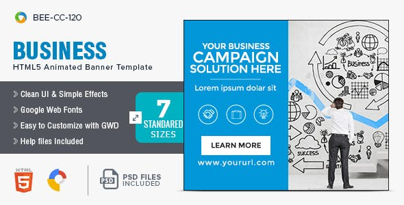 Business HTML5 Banners - 7 Sizes - BEE-CC-120