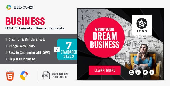 Business HTML5 Banners - 7 Sizes - BEE-CC-121