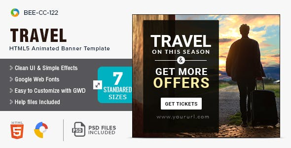 Travel & Tourism HTML5 Banners - 7 Sizes - BEE-CC-122