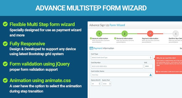 Multi Step Form Wizard jQuery Validation - CodeCanyon Item for Sale