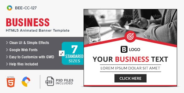 Business HTML5 Banners - 7 Sizes - BEE-CC-127