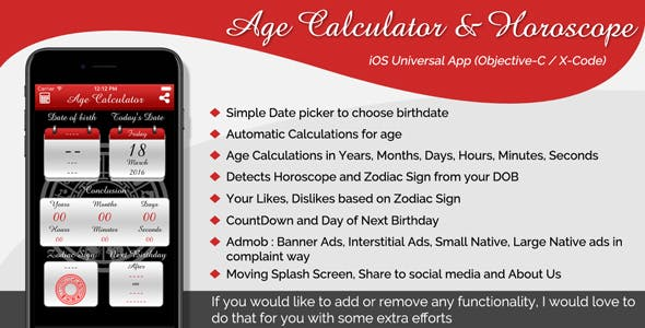 Age Calculator & Horoscope iOS Universal App (Objective-C / X-Code)