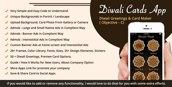 Diwali Greetings / Card Maker / Diwali SMS iOS App (Objective-C / X-Code)