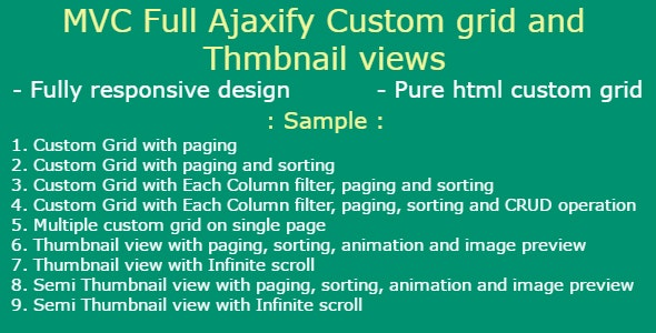 Asp.Net MVC full Ajaxify and bootstrap Grid With CRUD Operation - CodeCanyon Item for Sale