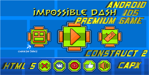 Impossible Dash - HTML5 Game + Mobile (Capx)