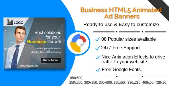 Business - Multi purpose HTML5 Ad  Banners