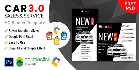 Car3.0 Car Sale & Rent | HTML5 Google Banner Ad - CodeCanyon Item for Sale