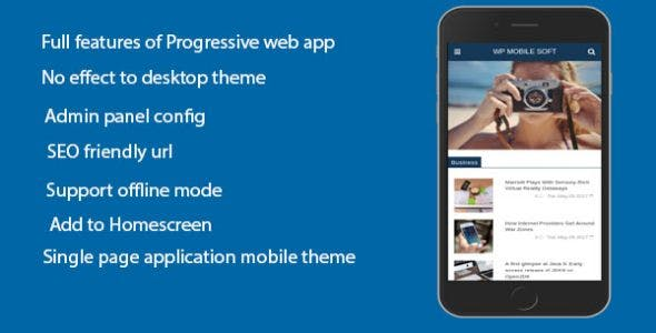 WordPress Mobile Soft - Progressive Web Application plugin for WordPress on mobile