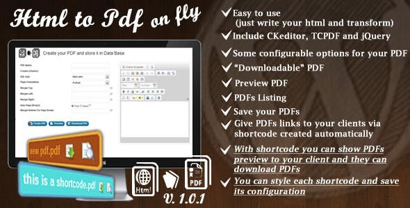 Html To Pdf On The Fly For WP And Shortcode Style