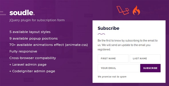 Soudle.js - jQuery Plugin for Subscription Form + Laravel & CodeIgniter Admin Panel - CodeCanyon Item for Sale