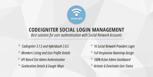 Cisociall - Codeigniter Social Login Management
