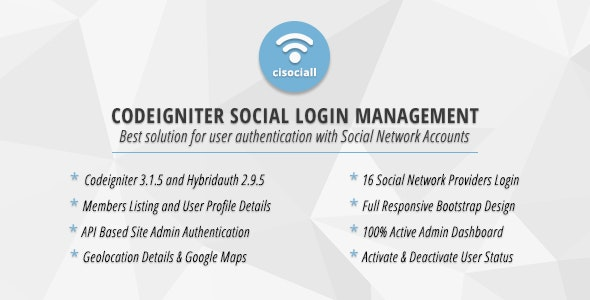 Cisociall - Codeigniter Social Login Management - CodeCanyon Item for Sale