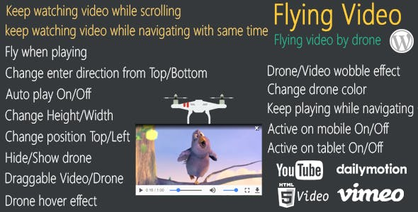 Flying Video for WordPress - keep watching video flying by drone while scrolling/navigating pages